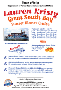 A flyer announcing the 2019 Lauren Kristy Sunset Dinner Crusies, call (631) 224-5430 for more information.