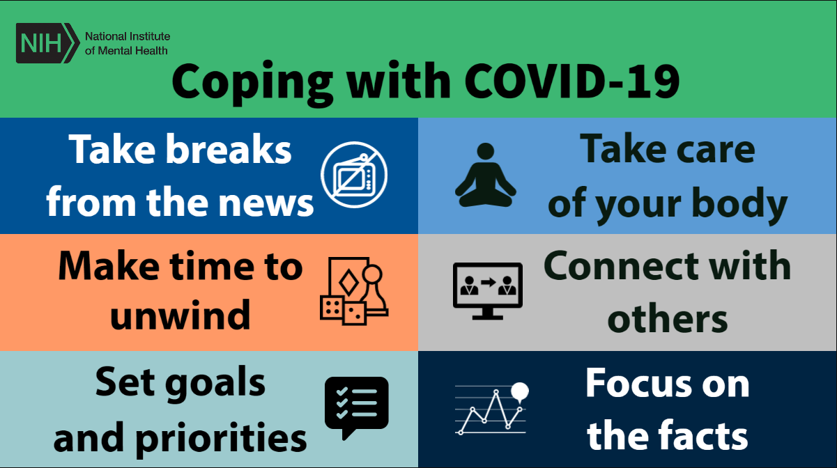 Flyer outlining  6 ways to cope with mental health