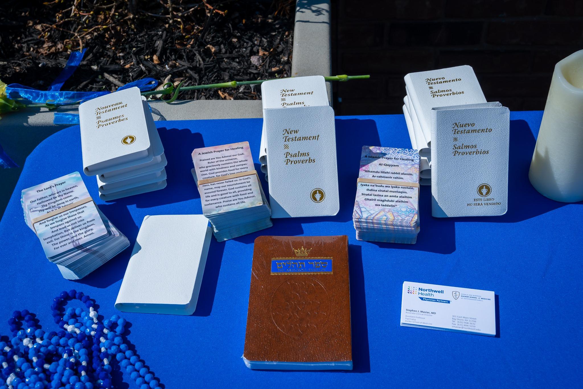 bible, books of prayer line table