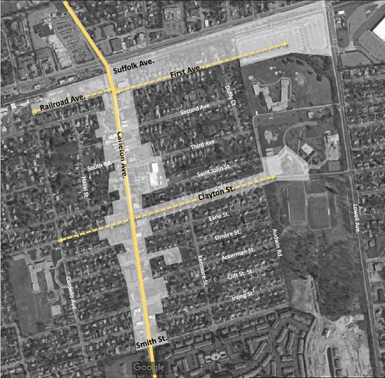 A map showing the areas of the proposed downtown on Carleton Abe. between Railroad and Smith St., as well as along First Ave. and Clayton Ave.