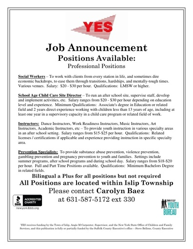 Employment Opportunities - Youth Enrichment Services (YES)
