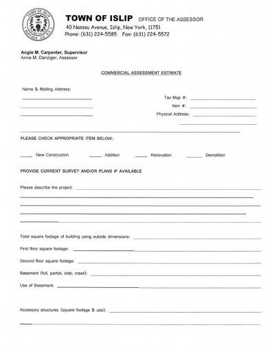 Commercial Assessment Estimate Request Form