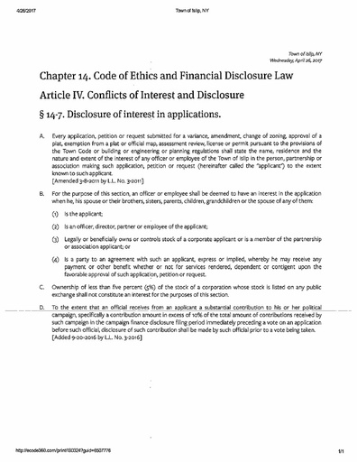 Chapter 14. Code of Ethics and Financial Disclosure Law Article IV. Conflicts of Interest and Disclosure