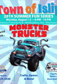 A flyer image of the Monster Trucks Movie Night event, call (631) 224-5411 for more information