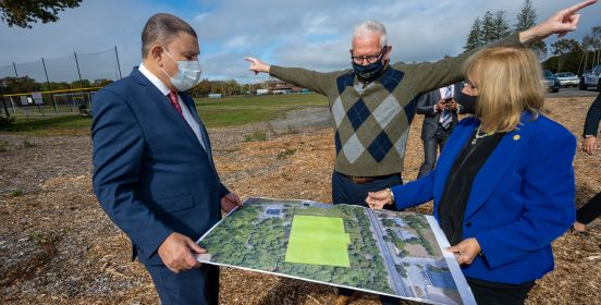 Assemblyman Phil Ramos, DPW Commissioner Owens and Supervisor Carpenter review plans