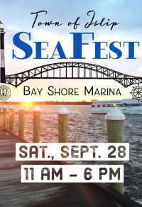 An image of a dock at sunset with a ferry in the distance, announcing the SeaFest event at the Bay Shore Marina on Saturday, September 28th from 11 am through 6 pm.