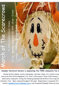 A flyer image of consisting mostly of a scarecrow's face, announcing the 2019 March of the Scaregrows. Contact oakdalehistoricalsociety@gmail.com for more information.