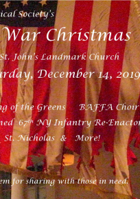 American Flag in the background, text stating 3rd annual civil war christmas in foreground