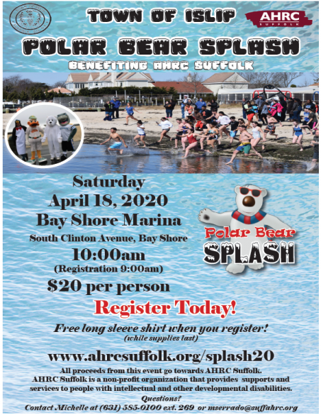 A flyer image announcing the April 18th polar splash event at the Bay Shore Marina.