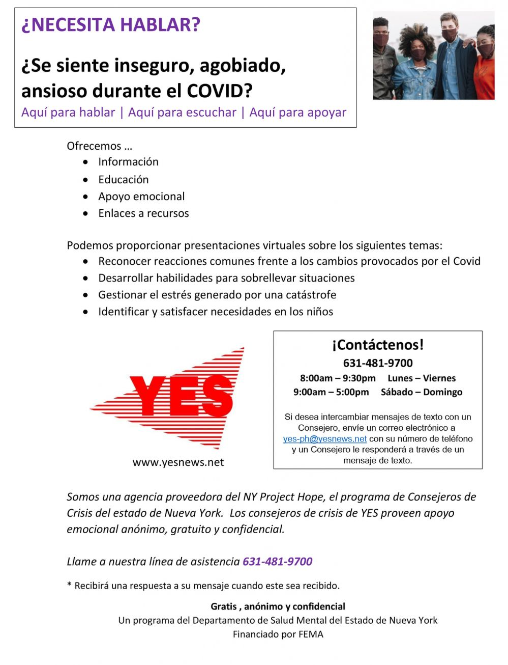 Spanish coping with covid flyer