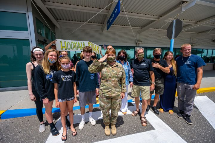 Naval Commander Returns to Hero's Welcome at Islip MacArthur Airport