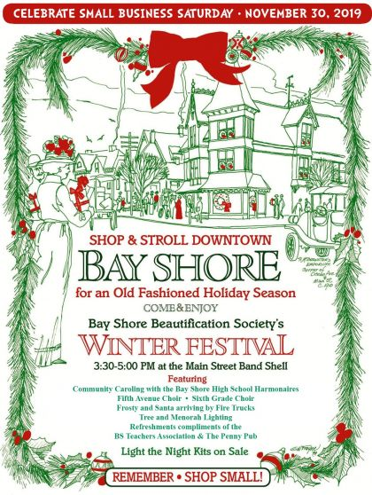 A flyer announcing the Bay Shore Winter Festival event on November 30th, 2019 from 3:30pm -5:00 pm.