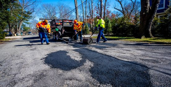 town crews patch potholes