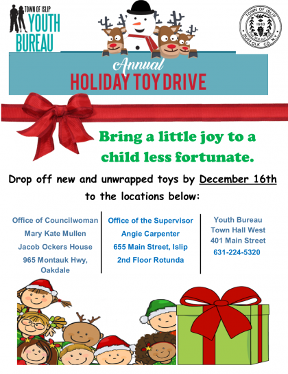 A flyer of the toy drive event announcing the details listed in the article copy.
