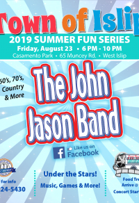 A flyer image announcing the last summer concert at Casamento Park in West Islip this Friday, August 23rd. Call 631-224-5430 for more information.